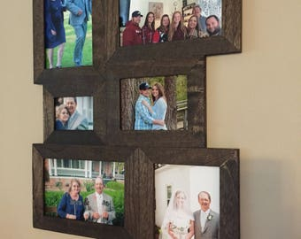 Dark Walnut Stain Photo Frame, 6 Picture Collage, Lightweight Picture Collage, Multi Picture Photo Frame, Wooden Picture Frame