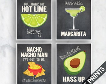 Bling, Margarita, Nacho Man, Avocado (Funny Kitchen Song Series) Set of 4 Art Prints (Featured in Vintage Chalkboard) Kitchen Art