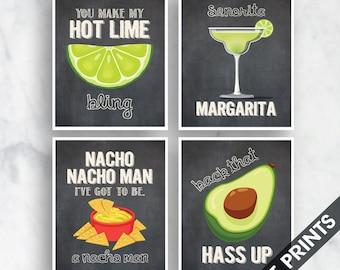 Bling, Margarita, Nacho Man, Avocado (Funny Kitchen Song Series) Set of 4 Art Prints (Featured in Vintage Chalkboard) Kitchen Art