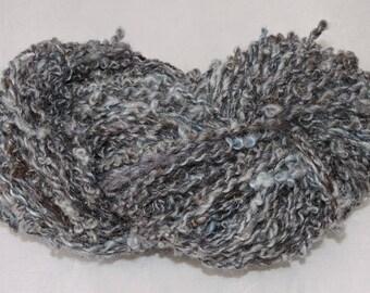 Handspun Novelty Art Yarn Coils Kid Mohair Wool Blue Gray 18-6