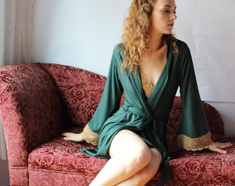 bamboo robe with lace trim - CATHEDRAL sleepwear range - made to order