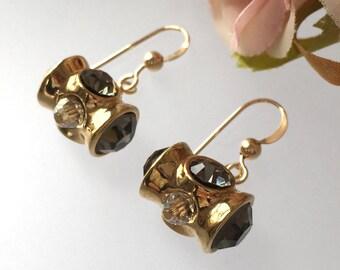 Gold Crystal Earring - Smoky Crystal Pave - Gold Earrings Wide - Black Diamond - Statement Earrings