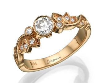 Rose Gold Engagement Ring, Leaf Ring, 14K Ring, Antique Ring, Vintage Ring, Art Deco Ring, Halo Setting Ring, Wedding Ring, Promise Ring