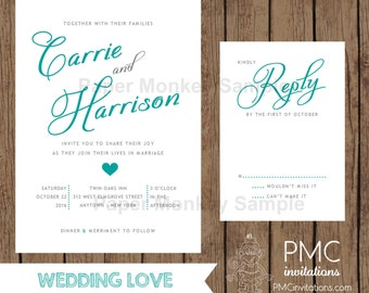 Custom Printed Wedding Invitations - 1.00 each with envelope