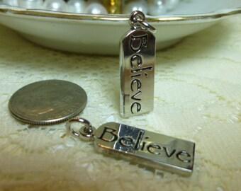 "Believe Charms Believe Tag Charms Believe Pendants Believe Dangles 3/8"" x 3/4"" Tibetan Silver/ Quantity 2"