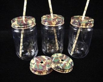 EIGHTEEN Mason Jars, Plastic Mason Jars with Camo, Kids Party Cups, Straw Cut Lids, Weddings,  Camuflauge Weddings, New Baby  - 16 oz jars