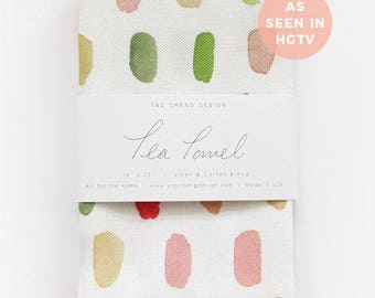 Dots in Pink & Coral- Watercolor Tea Towel