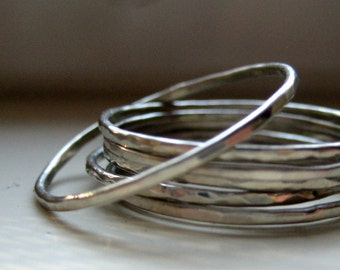 10k White Gold Hammered Stacking Rings