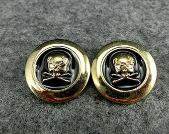6 Pcs 0.59~0.98 Inches Retro Gold Black Skull Head Shank Buttons For Coats Sweaters