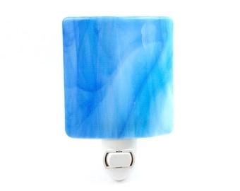 Night Light, Pastel Blue Wispy Art Glass, Large