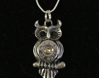 Graduation 45 bullet owl necklace silver with black eyes
