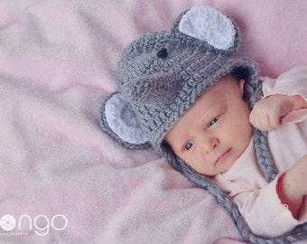 Elephant hat - photo prop - baby shower gift - elephant baby hat - elephant - crochet elaphant hat