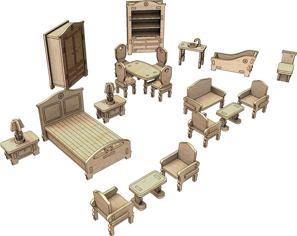 Little Princess Dollhouse Furniture Set Two Digital Download | furniture dxf download