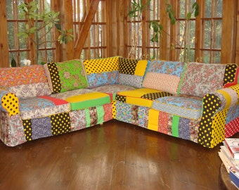 Modern Furniture Bespoke Art, Accent Sofa, Removable Cover, Accent Furniture,  Patchwork Sofa,hipster Style, Gypsy Style By AllaDmitryuk