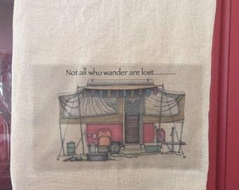 Tent trailer floursack tea towel