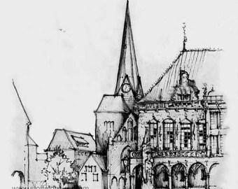 Sketch of the Bremen Ratskeller, Germany (Print)