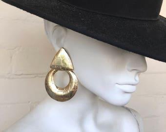 Large Geometric Gold Earrings / Statement Earrings / Oversized 80's Drop Earrings