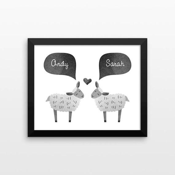 SHEEP Lamb Couple Wall Art Print Decor Personalized Wedding Gift for Couple Engagement Gift Idea Anniversary Gift for Wife Husband Her Him