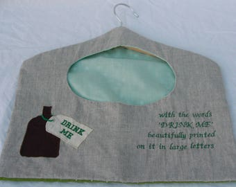 Fairytale Alice in Wonderland Peg Bag with appliqué bottle detail and embroidered quote.