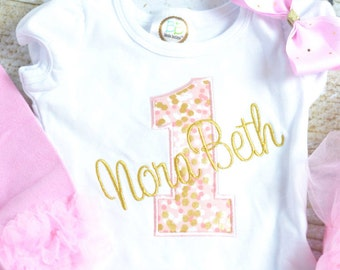 Pink and Gold First (1st, 2nd, 3rd, 4th, 5th) Birthday Shirt, Pink and Gold Birthday shirt, Girls Birthday Shirt gold