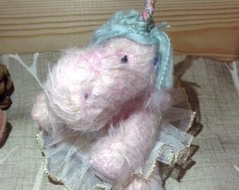 OOAK Uni-Hippo, Unicorn Hippo,  Handmade Artist Teddy Bear,