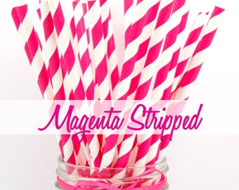 MAGENTA STRIPPED - Magenta Stripped Paper Straws - Party Paper Straws - Wedding - Birthday Decorations