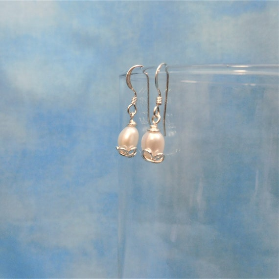 Freshwater Pearl Earrings Artisan Crafted Unique Wire Wrapped Natural White Pearl Jewelry June Birthstone Birthday Present Ideas for Women