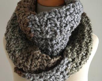 Chunky Scarf / Crochet Scarf / Wool Blend