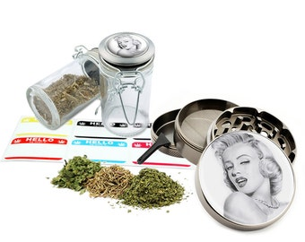 "Marilyn Monroe - 2.5"" Zinc Alloy Grinder & 75ml Locking Top Glass Jar Combo Gift Set Item # 50G012516-14"
