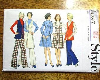 "MOD 1970s A-Line Dress, Long Vest, Cardigan, Blouse & Trousers - Size 14 (Bust 36"") - UNCUT ff Vintage Sewing Pattern Style 4297"