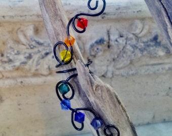 Rainbow Crystal Ear Cuff Climber, No Piercing Nickel Free Ear Cuff, Chakra Jewelry Non Pierced