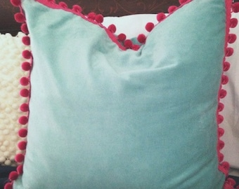 Blue Velvet Pillow Cover with Pom Pom Trim