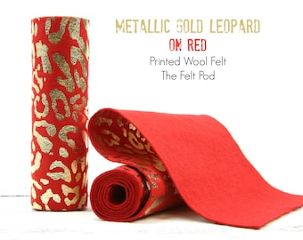 Metallic Gold Leopard Print on Red Wool Felt // Printed Wool Felt Roll // Metallic Gold Felt // Striped Felt // Printed Felt