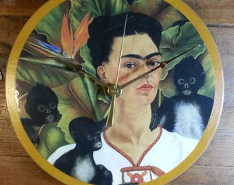 Frida with Monkeys Clock