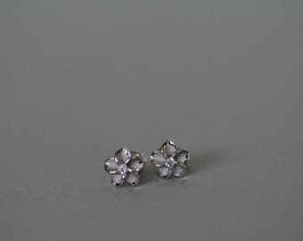 Sterling silver plumeria Studs with Cubic zirconia