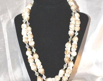 Vintage Double Strand Gold Mottled Freeform Beaded Necklace