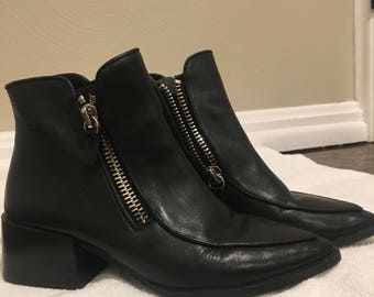 black double zippered leather booties