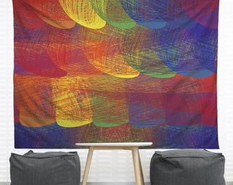 Rainbow Patch Hanging Wall Tapestry. Home Decor, Dorm Decor, Headboard Tapestry, Kids Room, Nursery Decor, Decorative Tapestry, Colorful