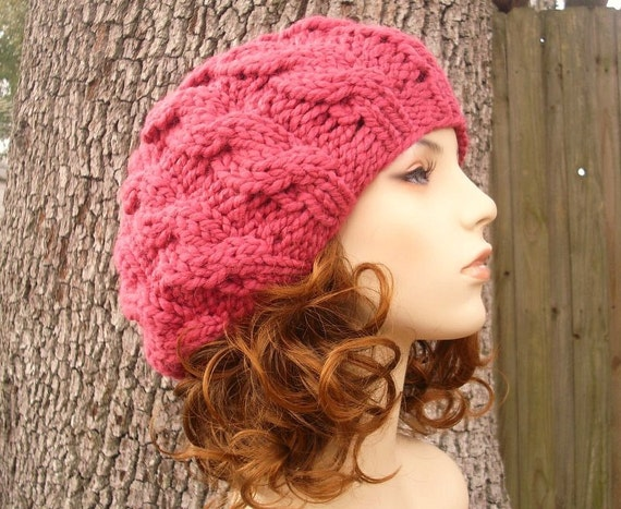 Pink Womens Hat Slouchy Beanie - Pink Cable Beret Raspberry Pink Knit Hat - Pink Hat Pink Beanie Raspberry Beret Womens Accessories