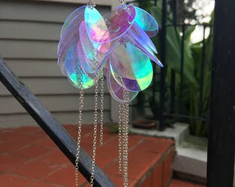 Clear AB holographic sequin disc dangling drop earrings rainbow reflection