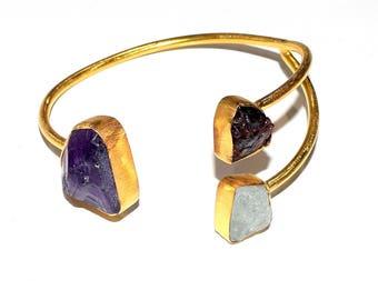 Handmade Amethyst Garnet & Aquamarine Natural Gemstone Gold Plated Brass Bangle