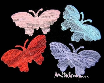 Set of 4 Butterfly lace multicolored embellishment scrapbooking (ref.610). *.