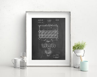 Egg Carton Patent Poster, Farmhouse Decor, Kitchen Wall Art, Bakery Decor, Culinary Gift, PP0480
