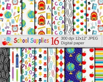 Back to School Digital paper, School Supplies pattern, Teacher Scrapbooking papers, School background, Education, Stationery, Download