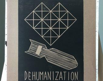 linoprint - Dehumanization