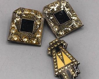 Vintage Clip On Earrings & Brooch Set Jewelry Mid Century