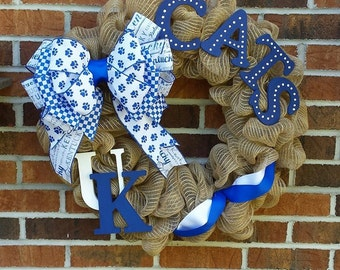 Burlap Mesh University of Kentucky UK Wreath