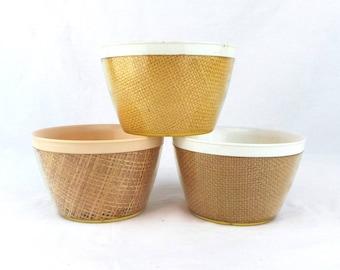 3 Raffiaware Burlap Melmac Bowls, Beach Chic, Island Style, Raffia Ware