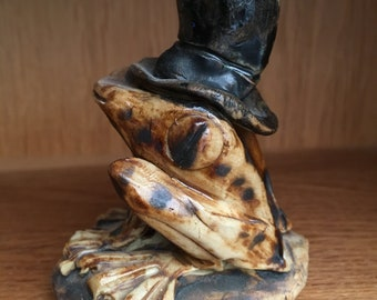 Hand sculptured Pottery Ornament Stoneware Frog/Toad with Top Hat