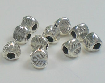 Spacer Beads 4mm Triangular Leaf Design Hill Tribe Fine Silver Silver 10 pcs. HT-142